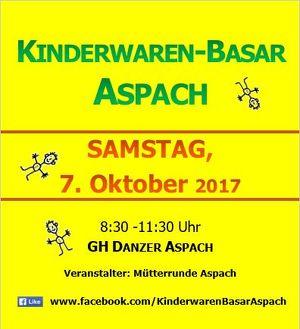 Kinderwarenbasar Aspach - 7.10.2017 (8:30 - 11:00)