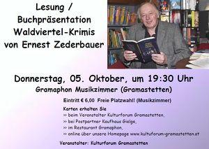 Lesung / Buchpräsentation Waldviertel-Krimis von Ernest Zederbauer