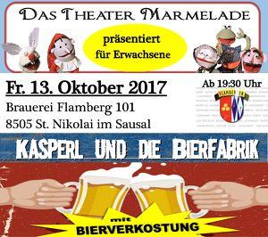 """Bierverkostung mit Theaterstück: """"Kasperl und die Bierfabrik""""- Für ERWACHSENE"""