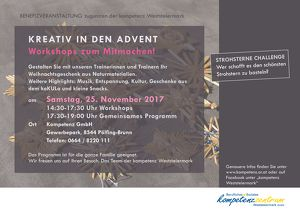 KREATIV IN DEN ADVENT: Workshops zum Mitmachen