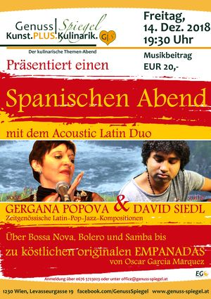 GenussSpiegel Kunst.PLUS.Kulinarik präsentiert: Ein Spanischer Abend - Gergana POPOVA (vocal) & David SIEDL (guitar)