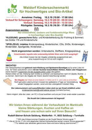 Waldorf Kindersachenmarkt - Hochwertiges und Bio-Ware - Rudolf Steiner Schule Salzburg