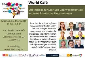 World Café - Erfolgstipps für Startups und wachstumsorientierte, innovative Unternehmen