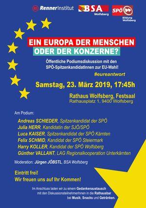 Öffentliche Podiumsdiskussion zur EU-Wahl in Wolfsberg