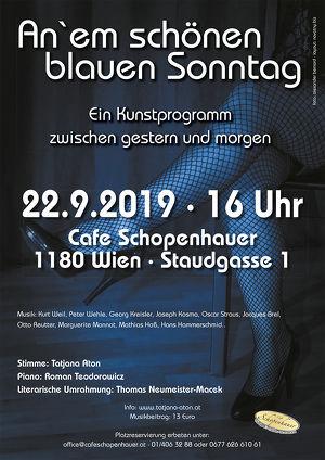 An` em schönen blauen Sonntag im Cafe Schopenhauer