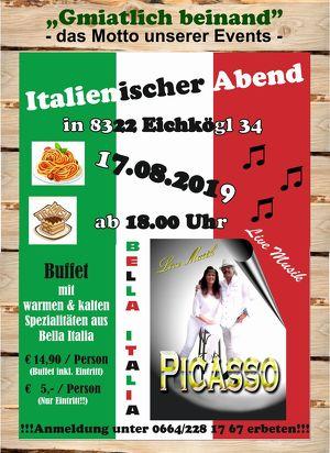 Italienischer Abend mit dem Duo PICASSO