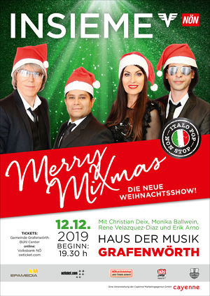 """INSIEME / Ein neues Programm-Highlight in der Weihnachtszeit: die Erfolgsband INSIEME feiert mit ihrer Weihnachtsshow """"Merry MiXmas"""" Premiere."""