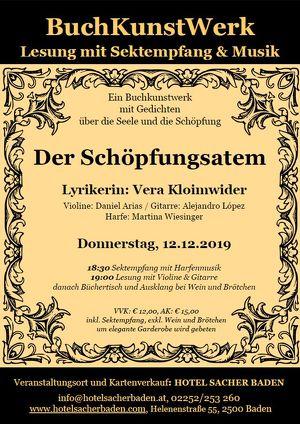 """Lesung """"Der Schöpfungsatem"""" – Präsentation eines BuchKunstWerkes mit Sektempfang und Musik"""